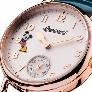 Disney Ingersoll ID00103 Ladies Watch The Trenton Union Quartz Stainless Steel Polished Dial White Strap Strap  Color  Blue