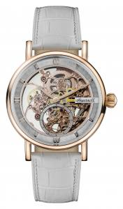 Ingersoll 1892 I00404 Ladies The Herald Movement Automatic Case Stainless Steel Dial Skeleton Strap Leather White