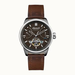Ingersoll DISCOVERY I06703 Mens The Triumph Movement Automatic Case Stainless Steel Dial Black Strap Leather Brown Matt