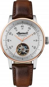 Ingersoll DISCOVERY I08001 Gents The Miles Movement Automatic Case Stainless Steel Dial Silver Strap Leather Brown Matt