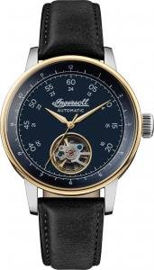 Ingersoll DISCOVERY I08002 Gents The Miles Movement Automatic Case Stainless Steel Dial Navy Strap Leather Black Matt