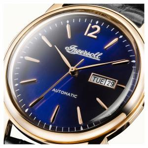 Ingersoll I00504 Mens Watch The New Haven  Automatic Stainless Steel Polished Dial Blue Strap Strap  Color  Black