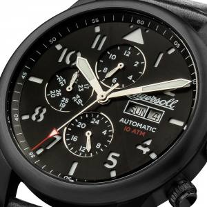 Ingersoll I01402 Mens Watch The Hatton Automatic Stainless Steel Polished Dial Black Strap Strap  Color  Black